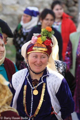 The women of Çomakdağ, famous for the colourful costumes, and for their traditional headgear . Turkey