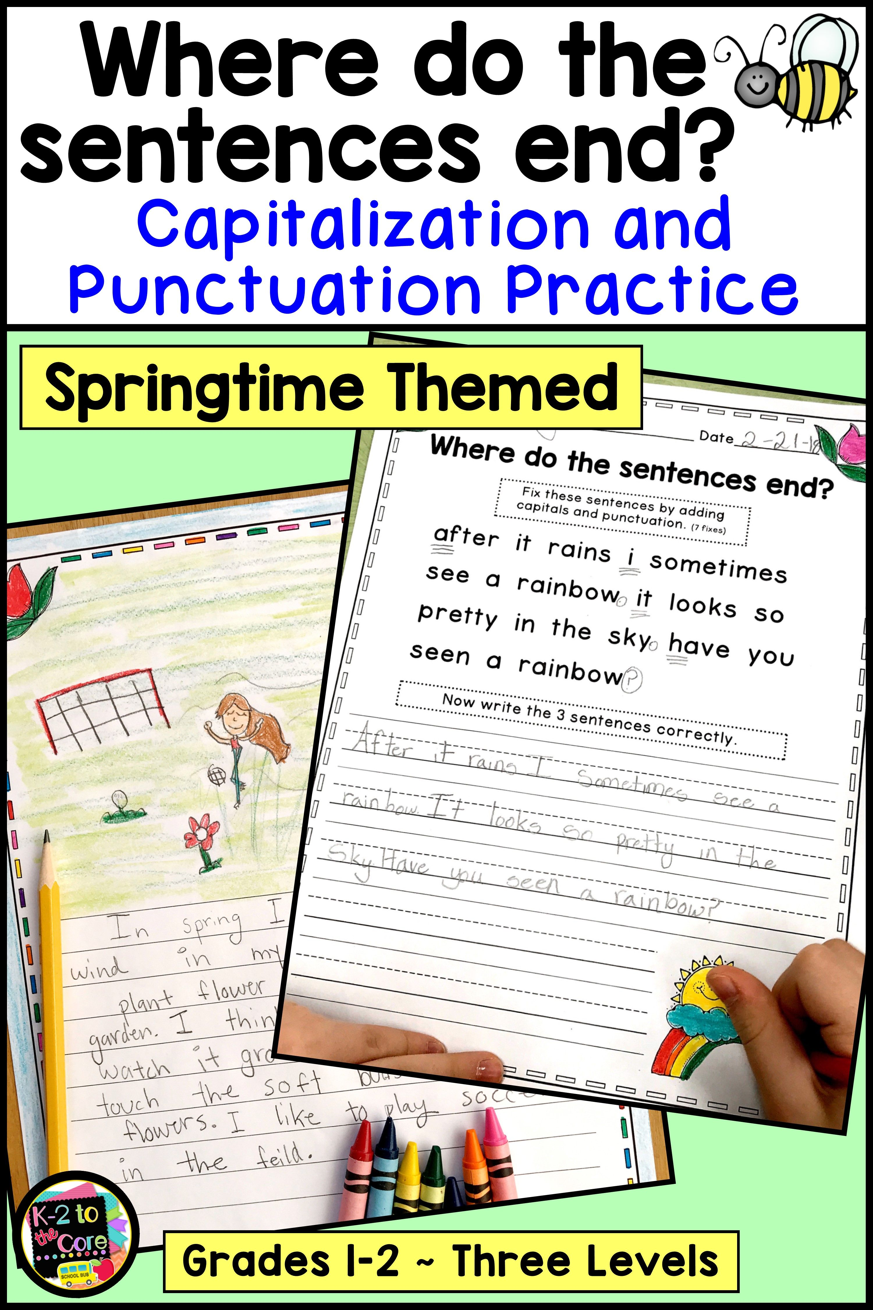 Spring Writing Capitalization And Punctuation Practice In