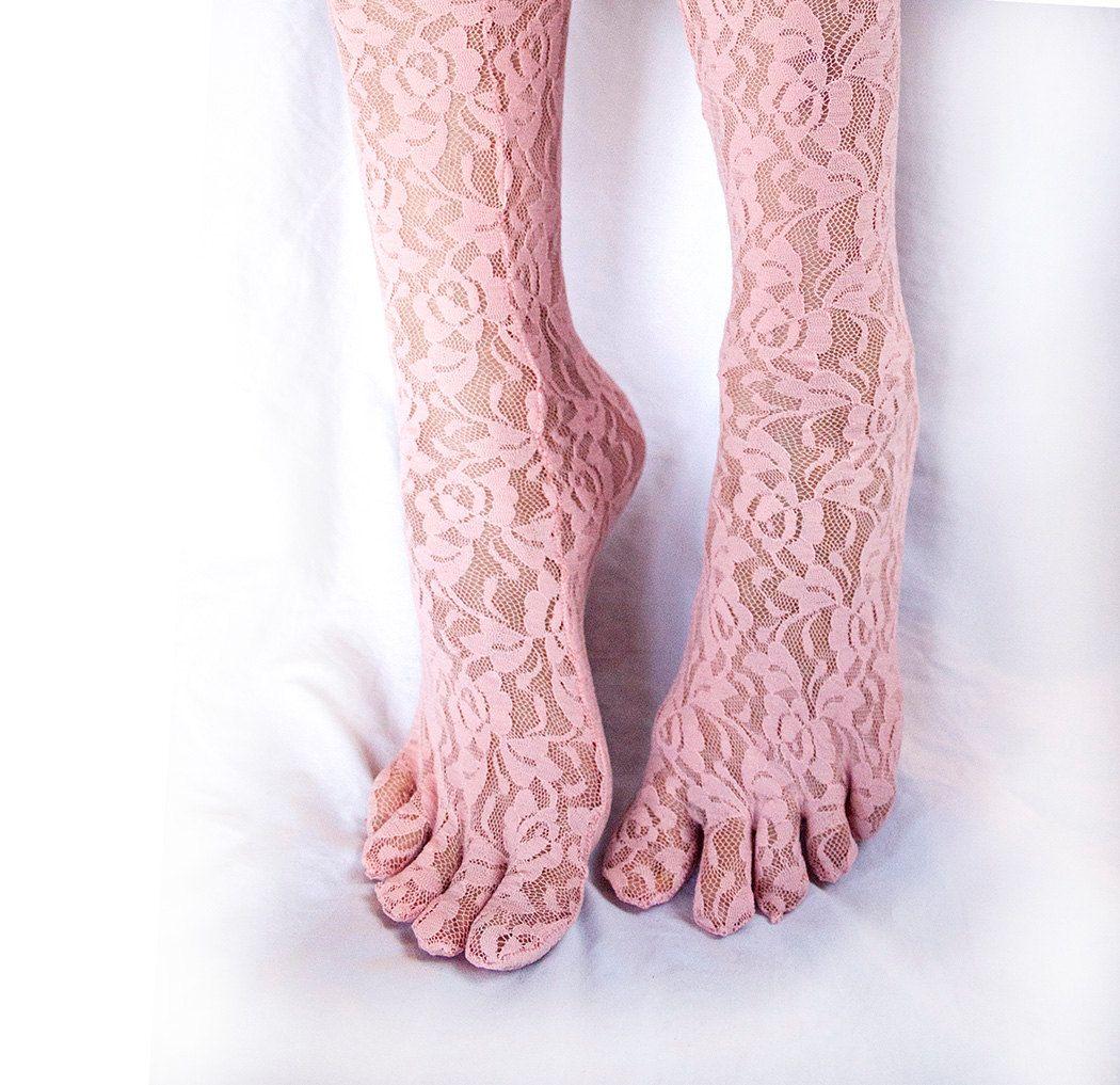 e7cf8a0aba6 Lace Toe Socks. Women s Toesocks. Baby Pink Sheer Lace. Free Shipping.   25.00