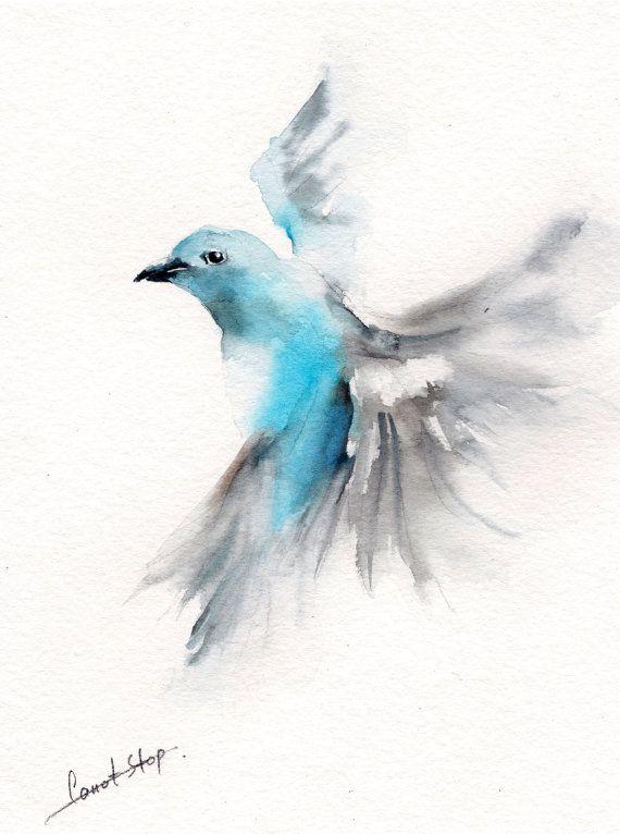 Flying Bird Original Watercolor Painting Bird by CanotStop ...