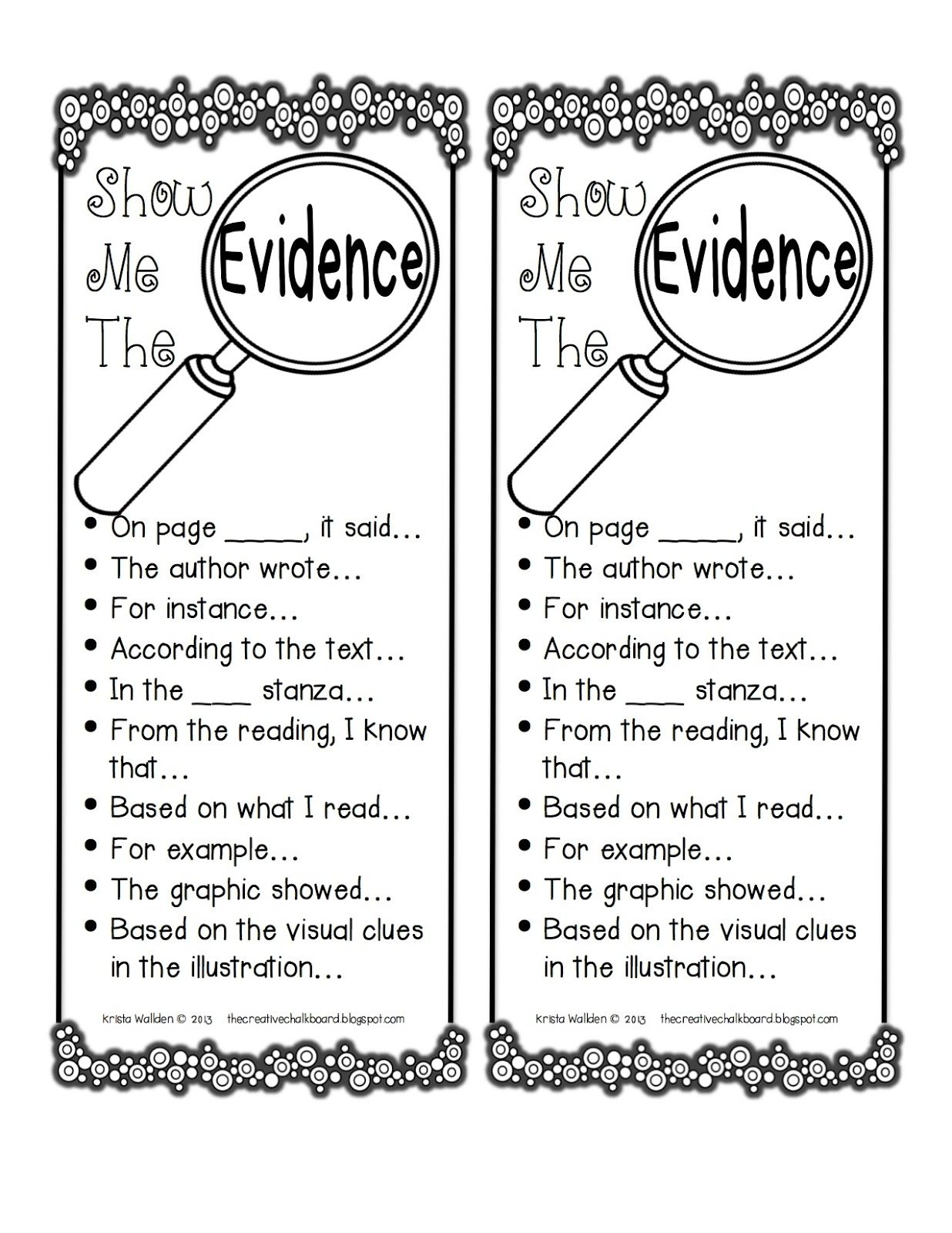 Love this - this offers students various ways to incorporate their evidence! I will laminate one for each student!