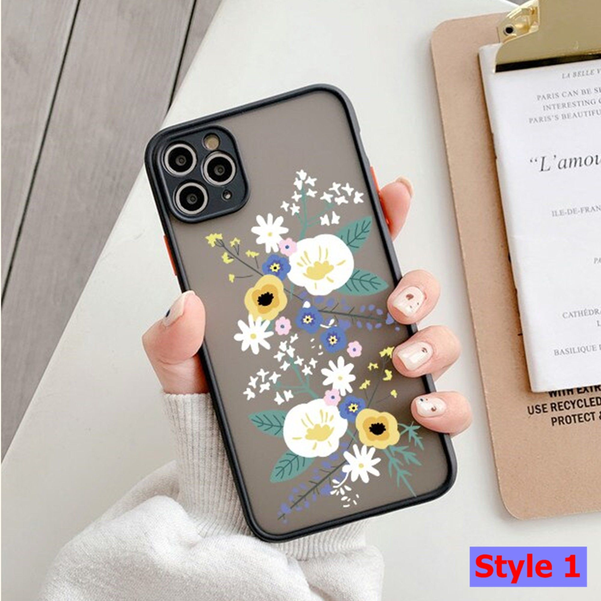Cute Flower Floral Phone Case for iPhone 11 12 Pro Max | iPhone X XS XR | 7 8 Plus | Pretty | Graffity | Silicone | Cell Phone Case