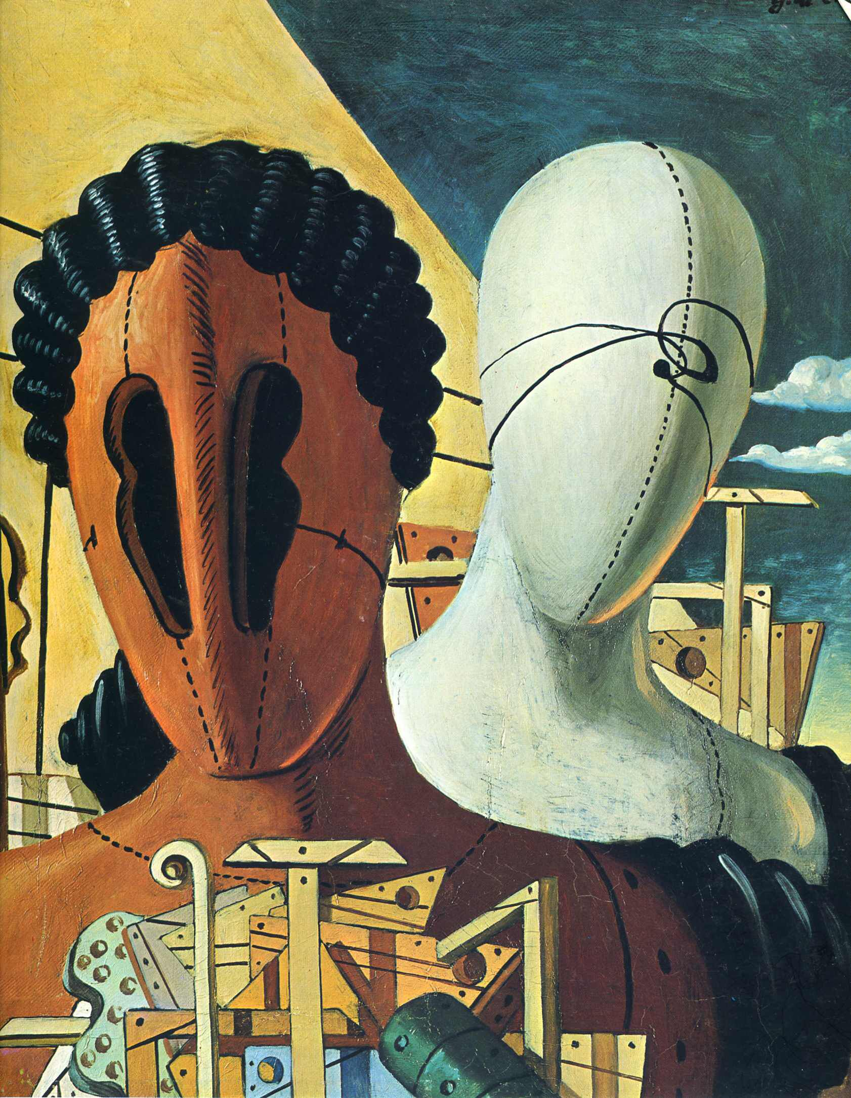 Image from http://uploads7.wikipaintings.org/images/giorgio-de-chirico/the-two-masks-1926.jpg.