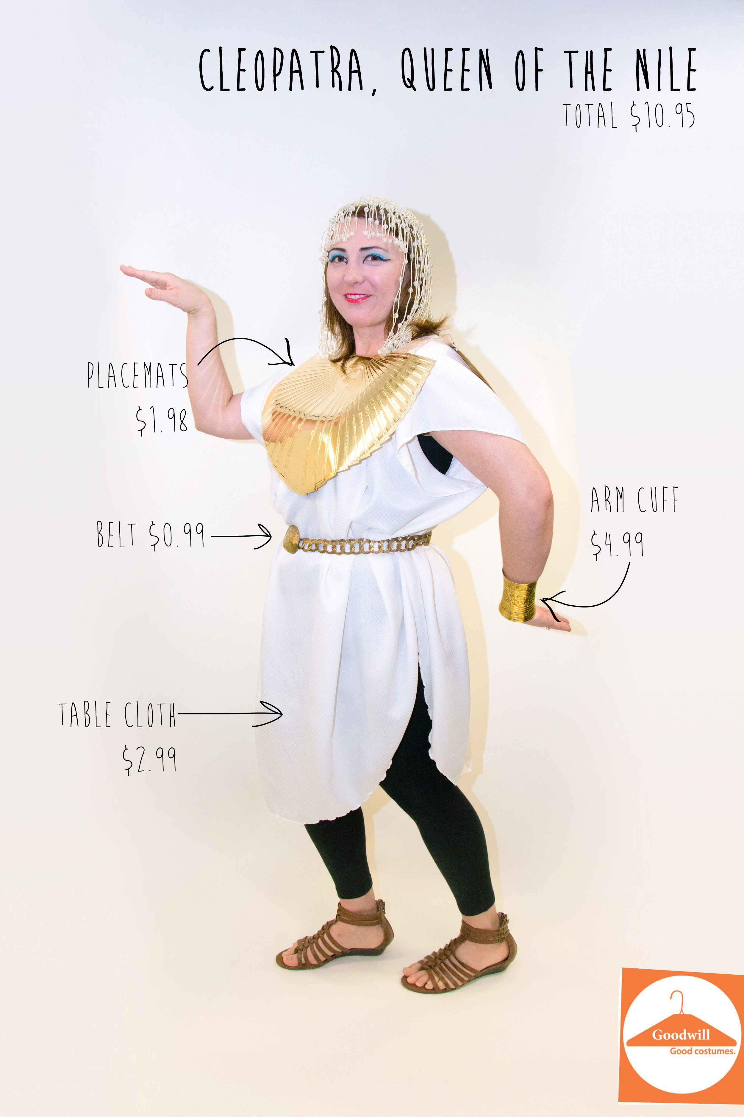 DIY Cleopatra costume from a table cloth and placemats, easy costume