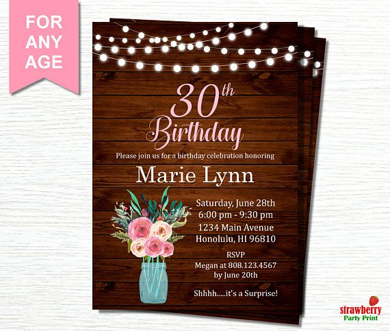 30th Birthday Invitation for Women Surprise 30th Birthday – Surprise 30th Birthday Invites