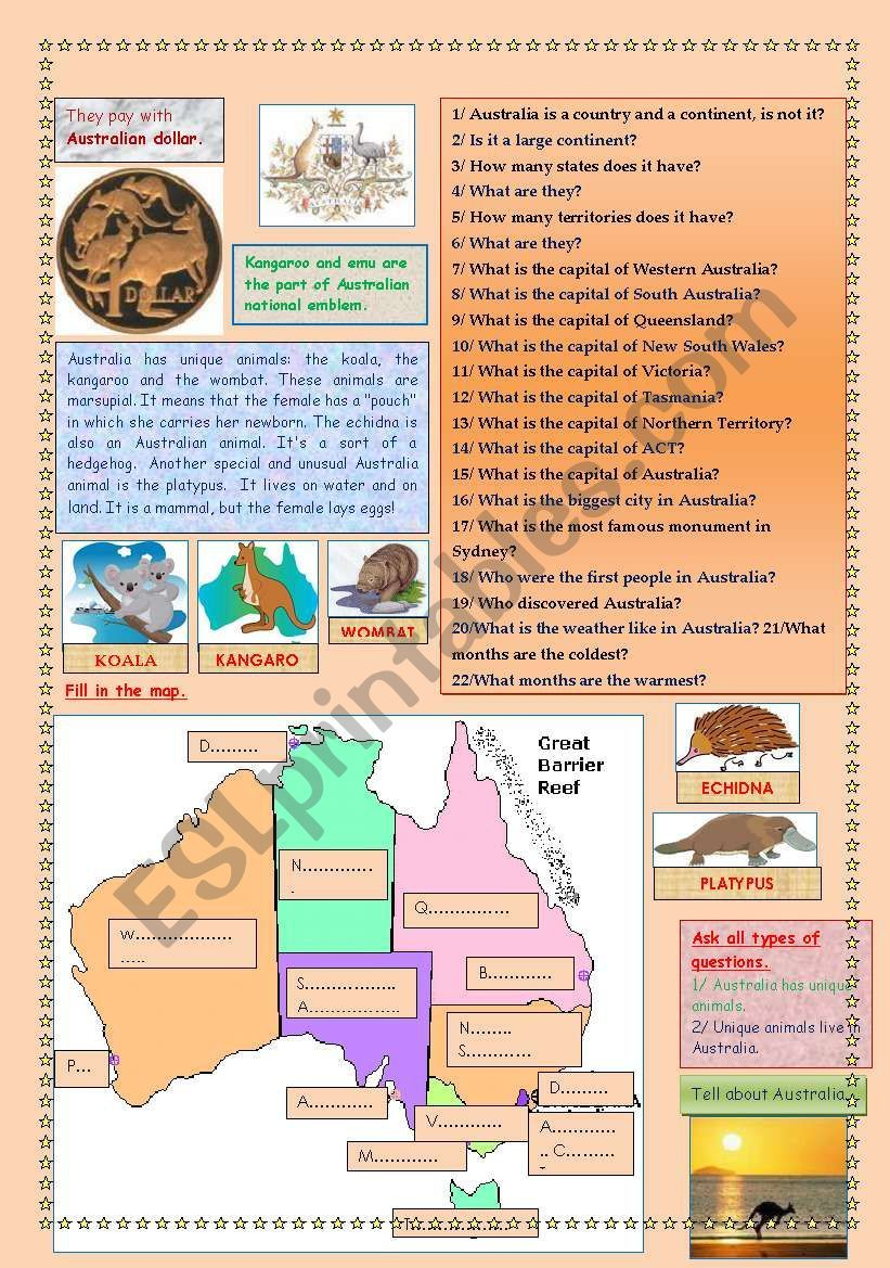 AUSTRALIA (2 PAGES) worksheet | Vocabulary worksheets ...