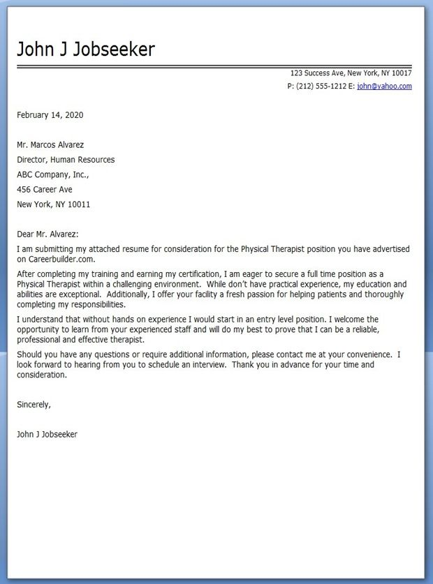 Physical Therapist Cover Letter Sample Cover Letter For