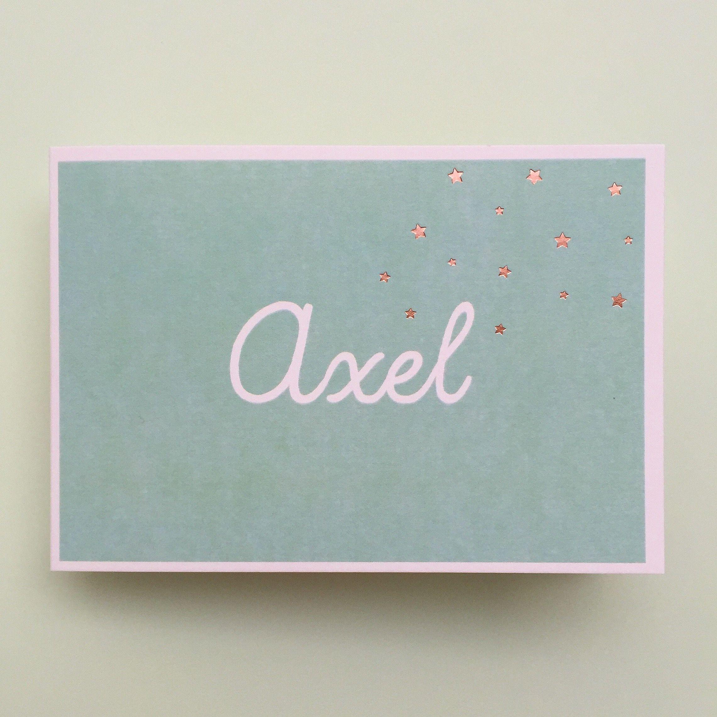 Geboortekaartje voor Axel met sterretjes in koperfolie www.howsweetitis.be