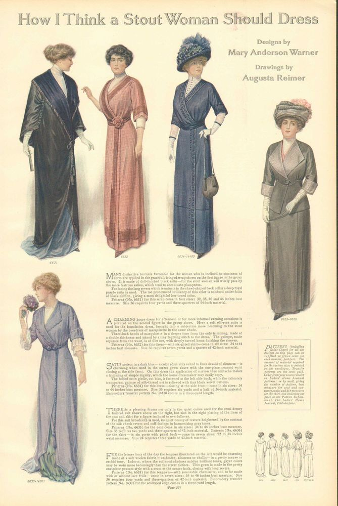 1912 How I Think A Stout Woman Should Dress From Ladies Home