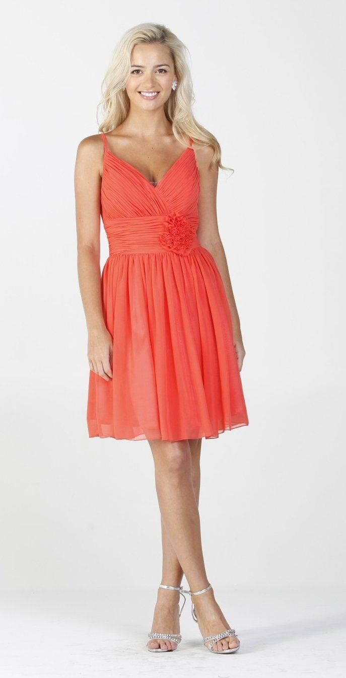 CLEARANCE - Chiffon Coral Summer Dress Ruched Top Flower Waist ...