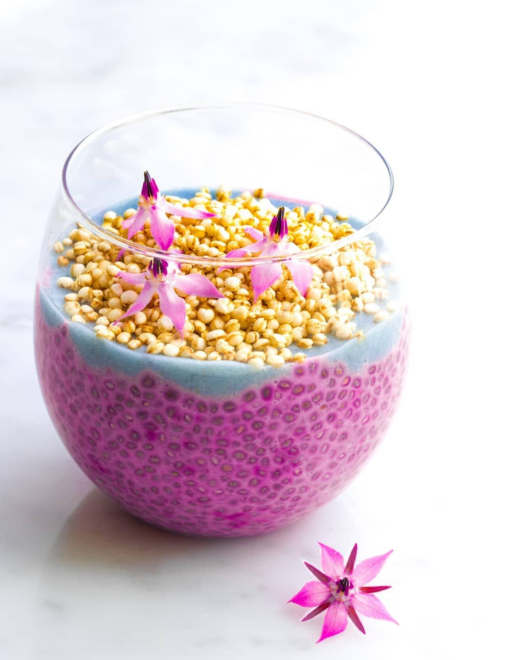 Pink Pitaya Soy Latte Chia Pudding And A Mixture Of Blue