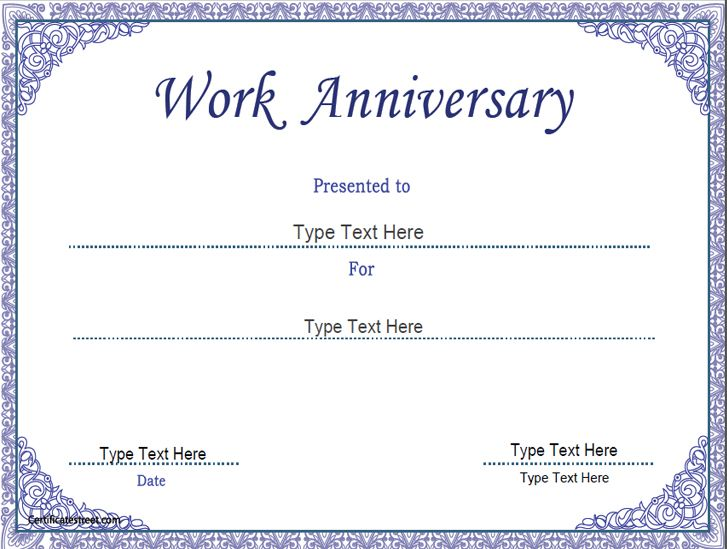 work certificate template word - business certificate work anniversary certificate
