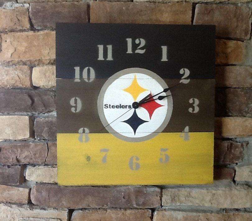 Pittsburgh Steelers Wood Wall Clock Steelers Colors Black