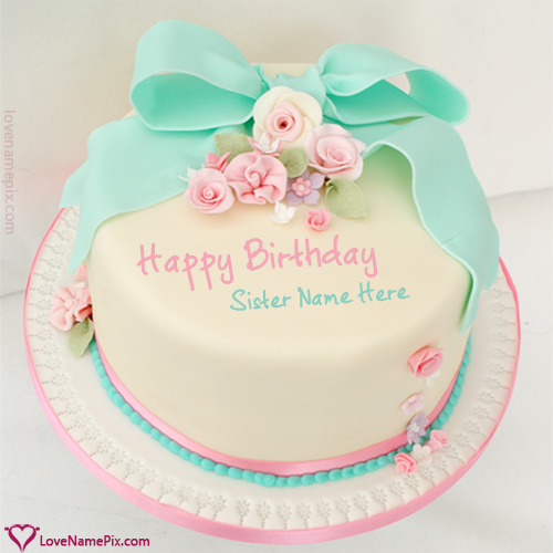 Cute birthday wishes cake for sisters with name photo happy create cute birthday wishes cake for sisters with name photo on best online generator with editing options and send happy birthday wishes publicscrutiny Image collections