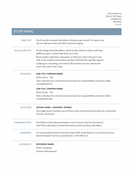 A Professional Resume Format Resume Template Professional Job Resume Template Basic Resume