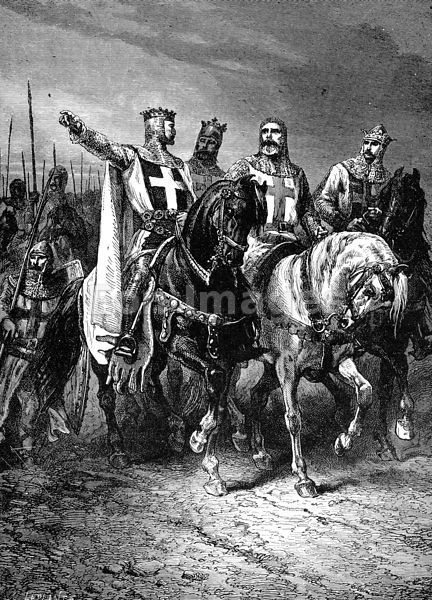 """Leaders of First Crusade - 19th-century illustration, """"The four leaders of the First Crusade.--Godfrey, Raymond, Boemund, Tancred,"""" drawn by A. de Neuville. This illustration depicts Godfrey of Buillon, Raymond IV of Toulouse, Bohemond I and Tancred of Hauteville. The four led the Christian army to victories at Jerusalem and Antioch during the First Crusade."""