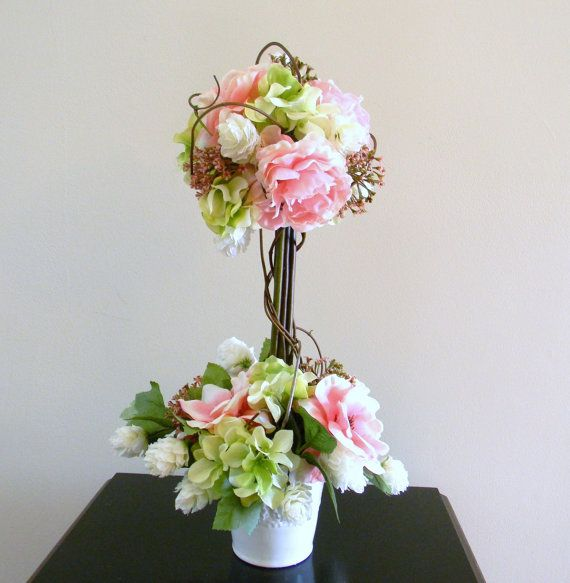 Florist made topiary with hydrangea centerpiece wedding