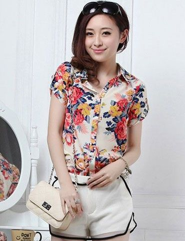 Women Feminine Style Fancy Floral Printed Short Sleeve Shirt - Item 698008 at Eastclothes.com