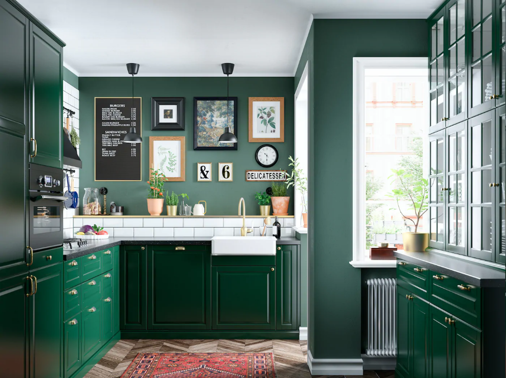 A Green And Fresh Kitchen Ikea Bodbyn Kitchen Dark Green Kitchen Green Kitchen Cabinets