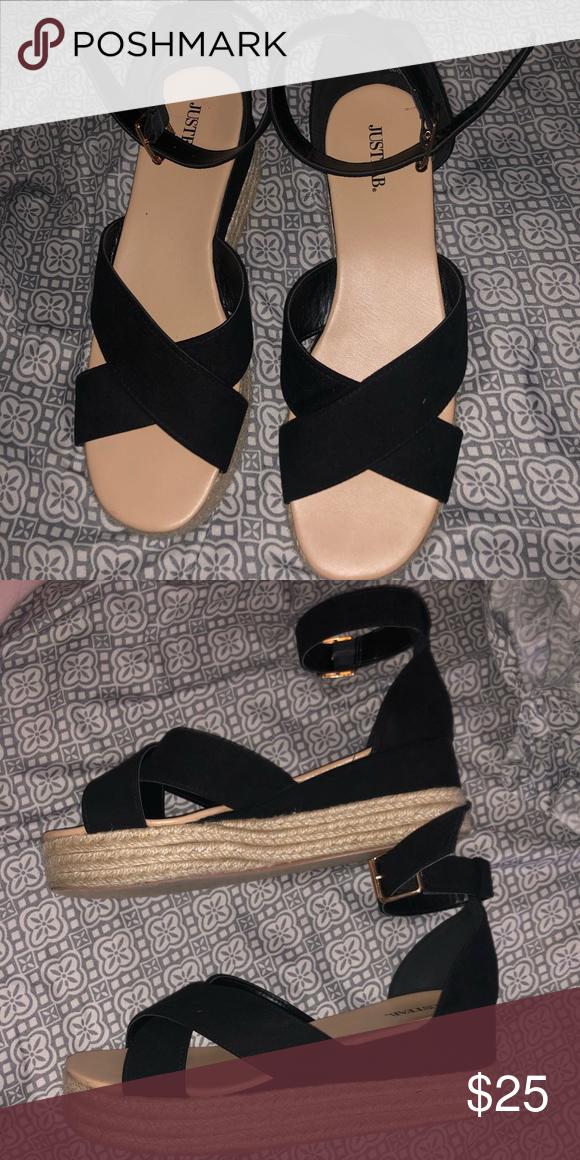 d53dfaf1527e Black Espadrilles/wedged sandals Black Justfab espadrilles, like new, worn  once. JustFab