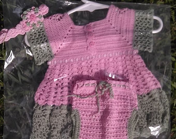 Crochet Christening Dress and headband with flowers | Vestidos de ...
