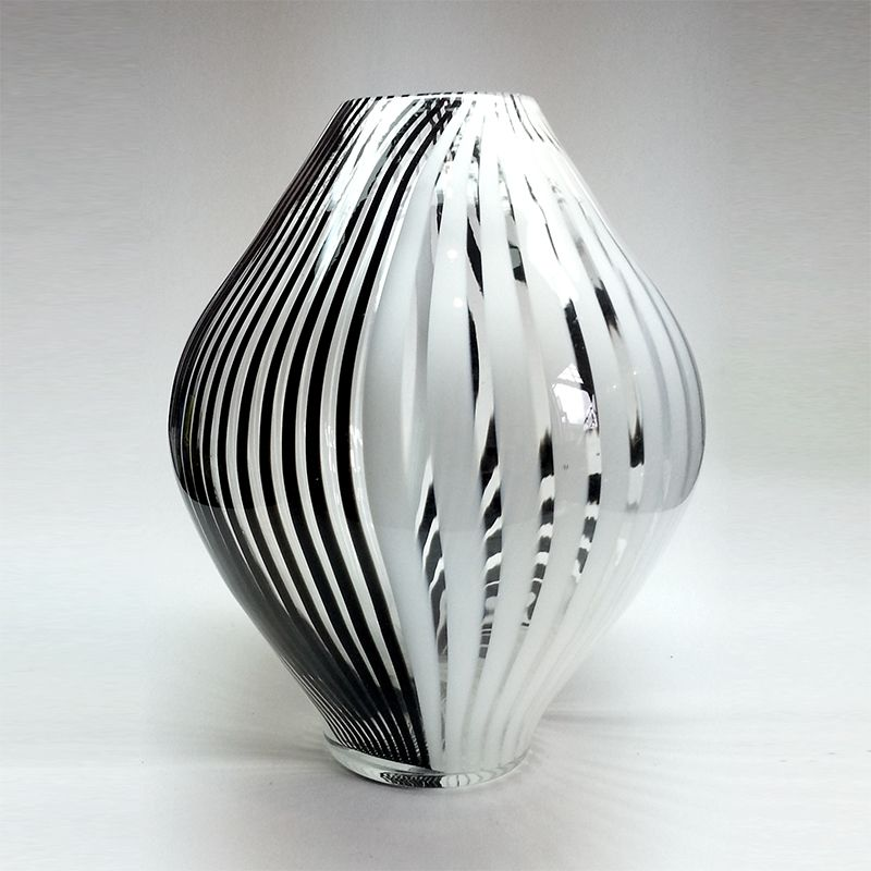 Vase caned hand blown black white clear