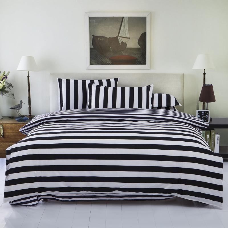 New Drop Ship Bedding Set Twin/Full/Queen Size Duvet Cover Set Classic Black