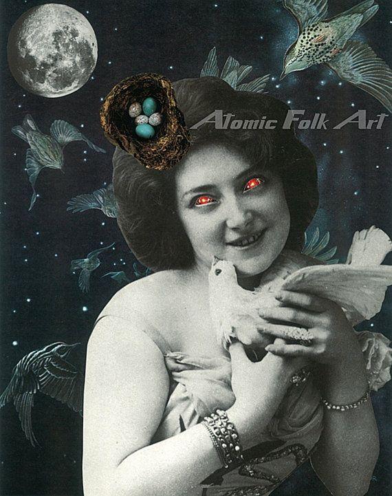 The bird catcher by atomic folk art collage visual art surreal