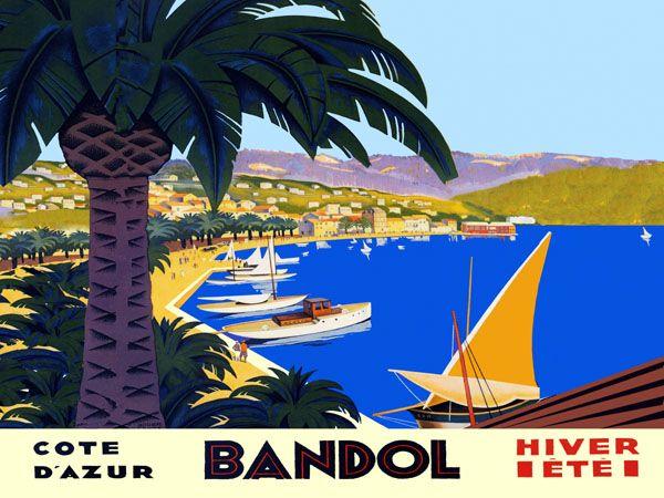 bandol cote d 39 azur large horizontal french vintage travel poster repro free s h vintage travel. Black Bedroom Furniture Sets. Home Design Ideas