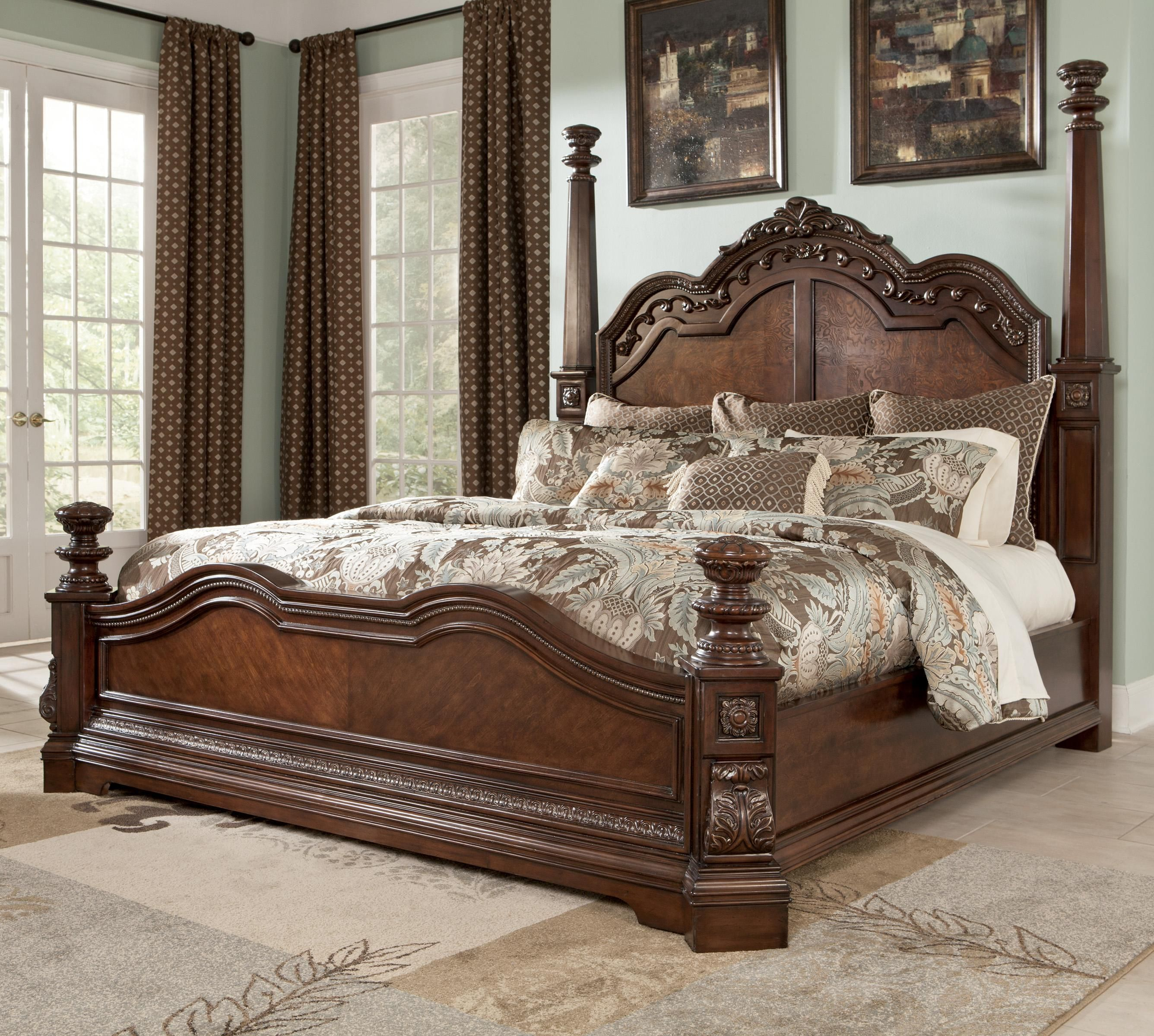 ledelle traditional king poster bed by ashley millennium