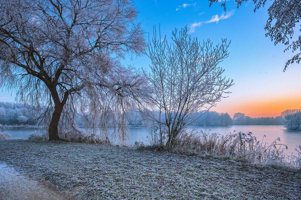 Metal Maik posted a photo:  Eingefrorene Landschaft am Thielenburger See in Dannenberg (Wendland, Niedersachsen). Aufgenommen während des Sonnenuntergangs vom 5. Dezember 2016.