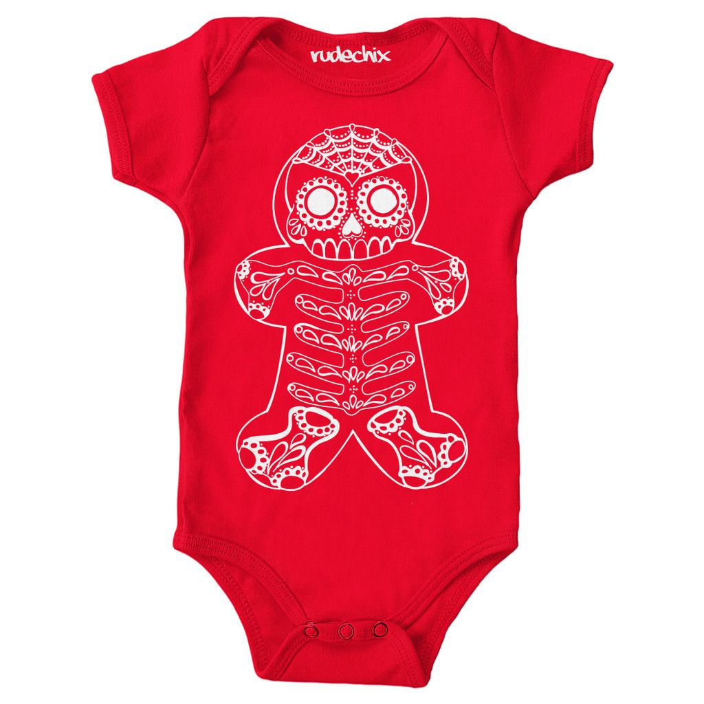 Kid's Rudechix Day of the Dead Gingerbread One Piece Red Baby Christmas Holiday
