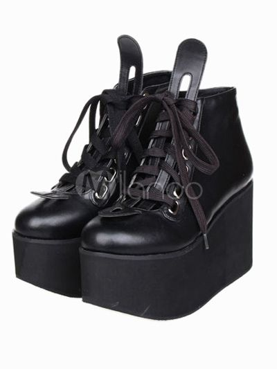 Zapatos negros de lolita de PU de estilo popular 2WKNWn