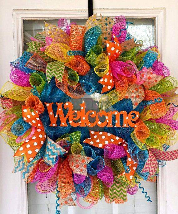 Spring orange welcome deco mesh wreath by for How to make door wreaths for spring