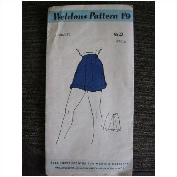 "1950's Weldons sewing pattern 5523 ladies shorts waist 25"" used - ebid"