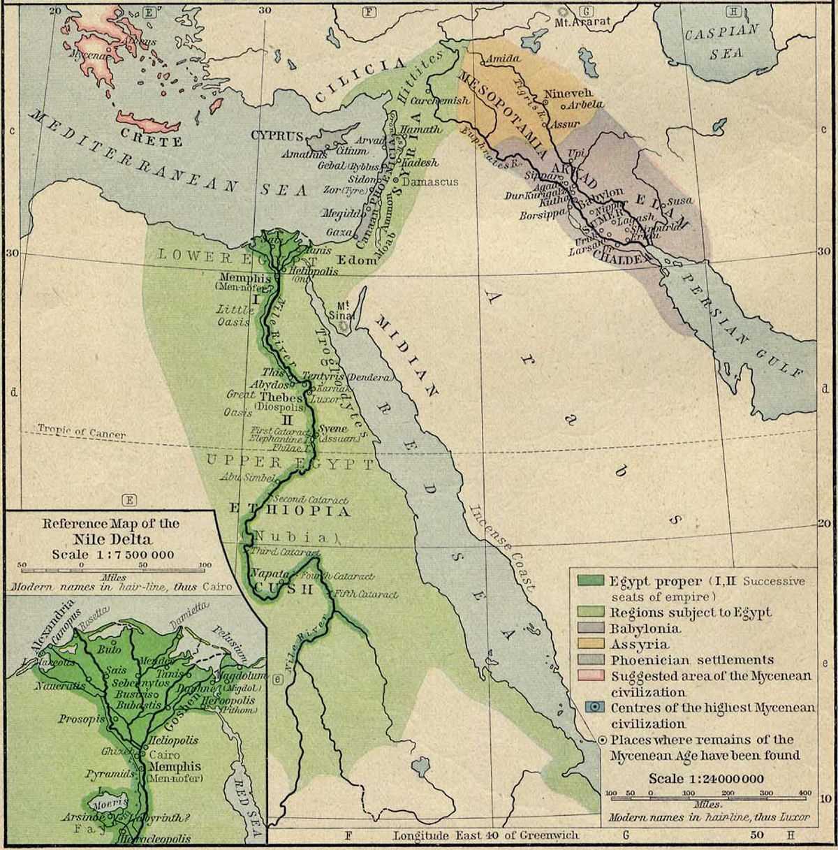 Ancient Map Of Egypt And Mesopotemia