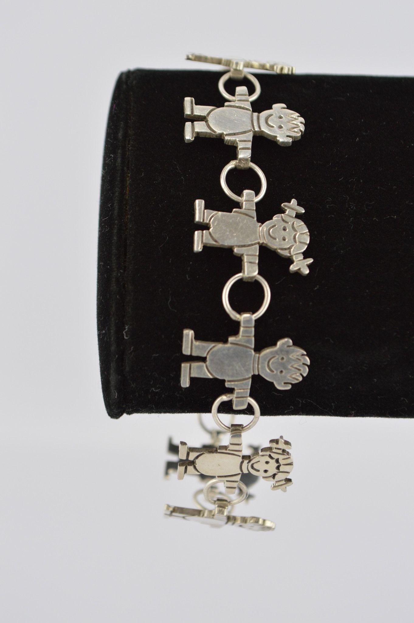Womenus sterling silver link bracelet boys u girls holding loops