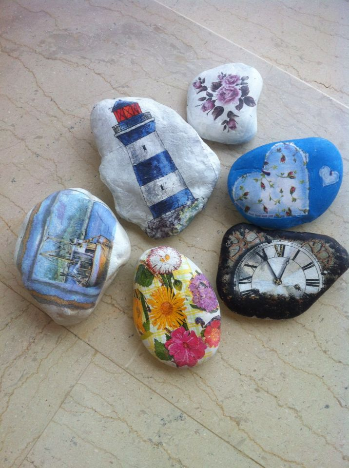 Beautiful painted and decoupage rocks