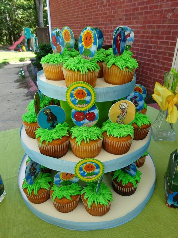 PLANTS Vs ZOMBIES TAGS Cupcake Toppers