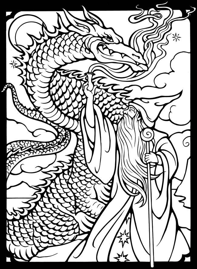 Dover Publications free sample coloring page - Wizards & Dragons ...