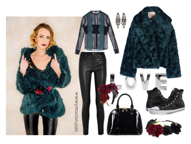 """""""Ymocion design Fur jacket"""" by ymociondesign on Polyvore featuring Helmut Lang, Relaxfeel, Converse, Flowers, flowercrown, leatherpants, fur and winterstyle"""