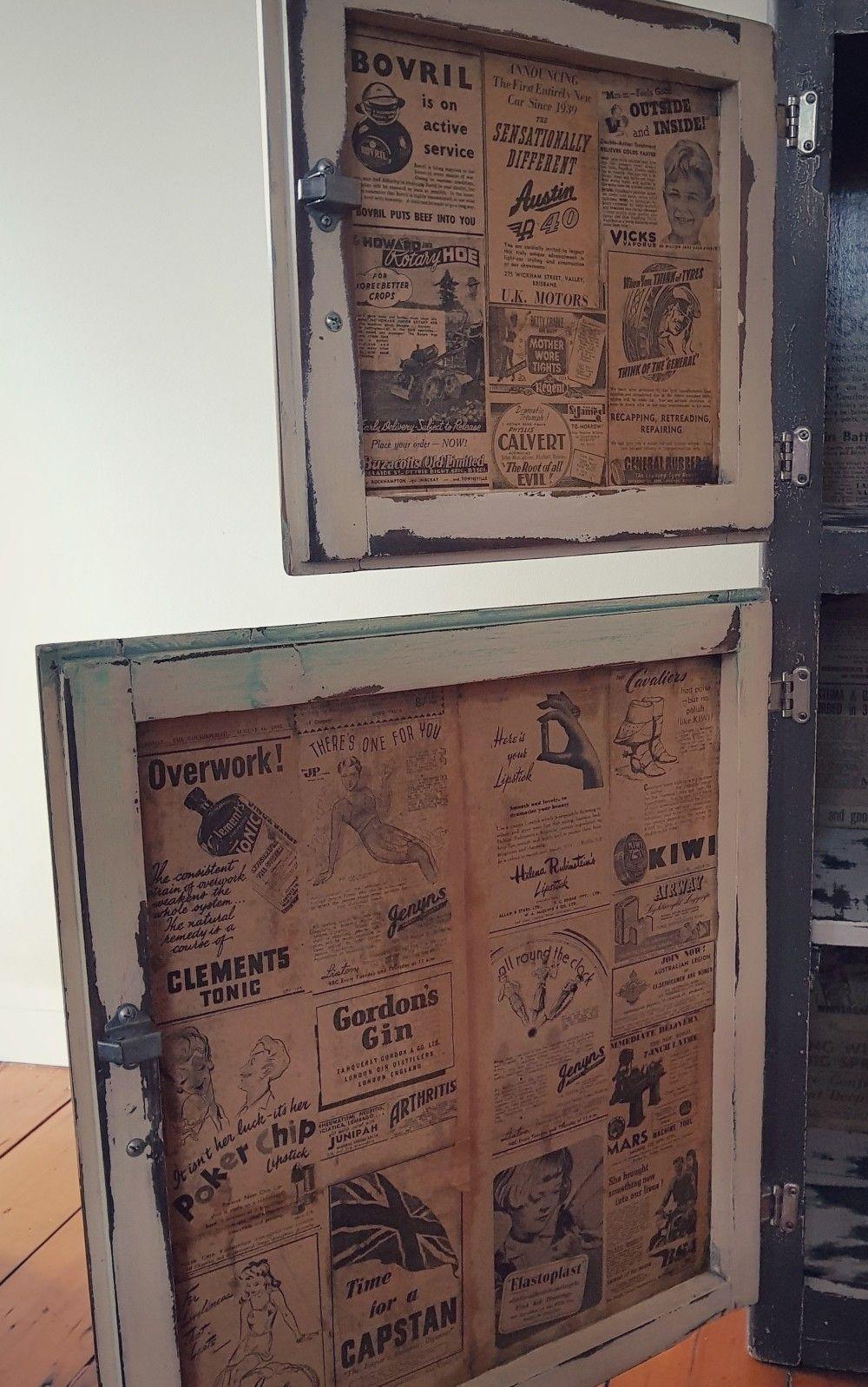 Decoupaged Original 1940 S Newspaper Advertisements Onto The Inside Of A Vintage Retro Kitch Diy Furniture Projects Furniture Projects Kitchen Cabinet Doors