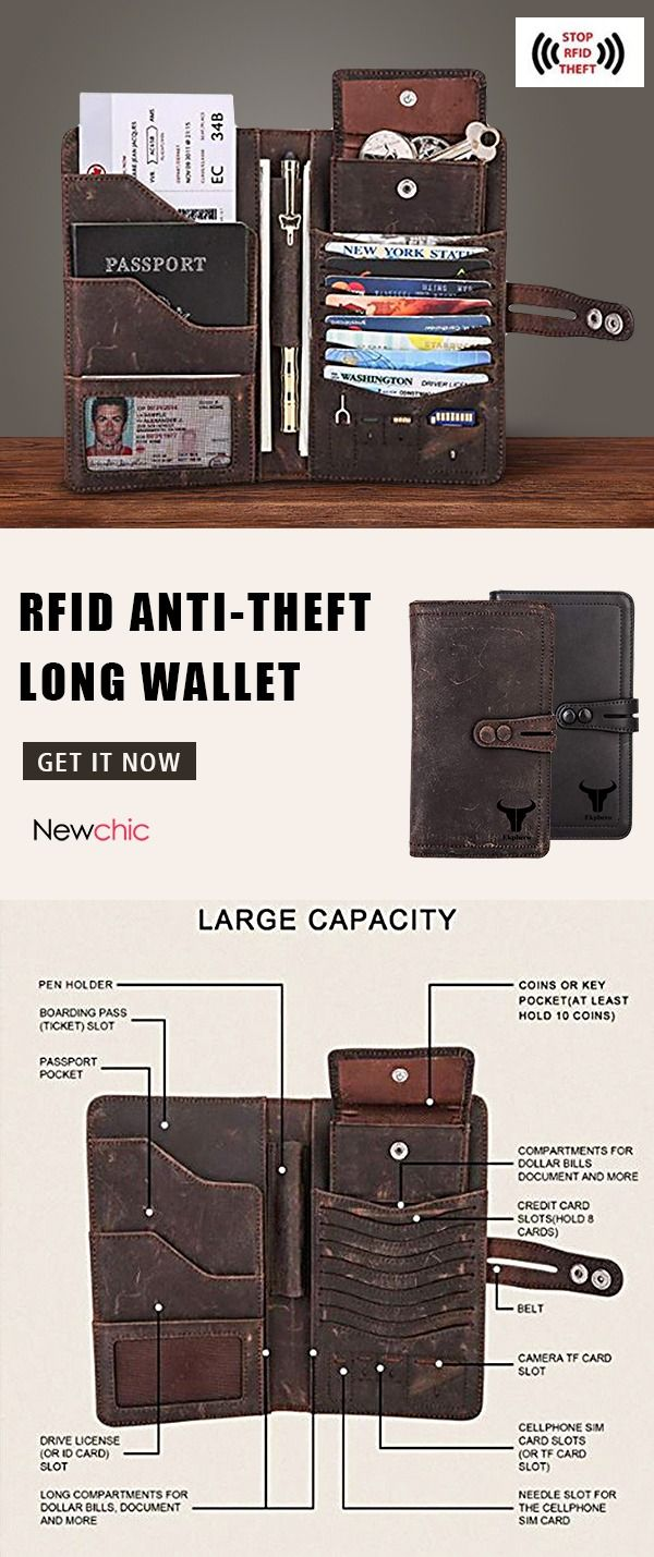 [55%off]Men RFID Anti-theft Long Wallet Multi-pockets Card Holder #mens #wallet #vintage #thingstowear