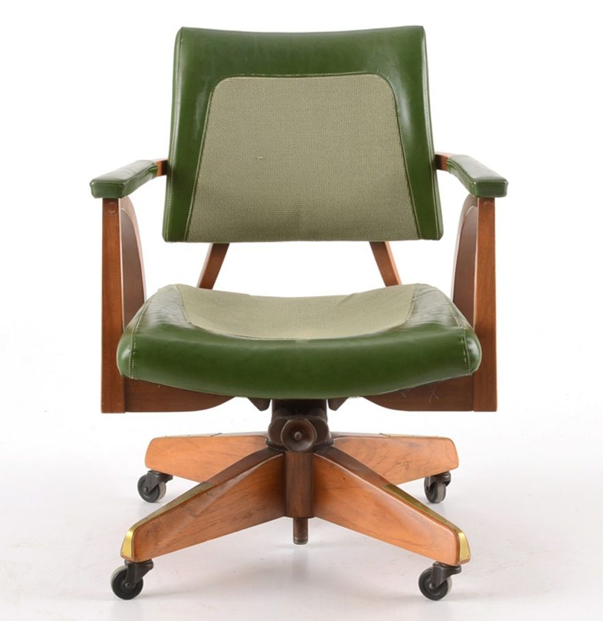 vintage office chair. A Midcentury Vintage Office Chair. It Features Hardwood Frame With Warm Finish, And Seat, Back, Armrests Upholstered In Green Vinyl Fabric. Chair E