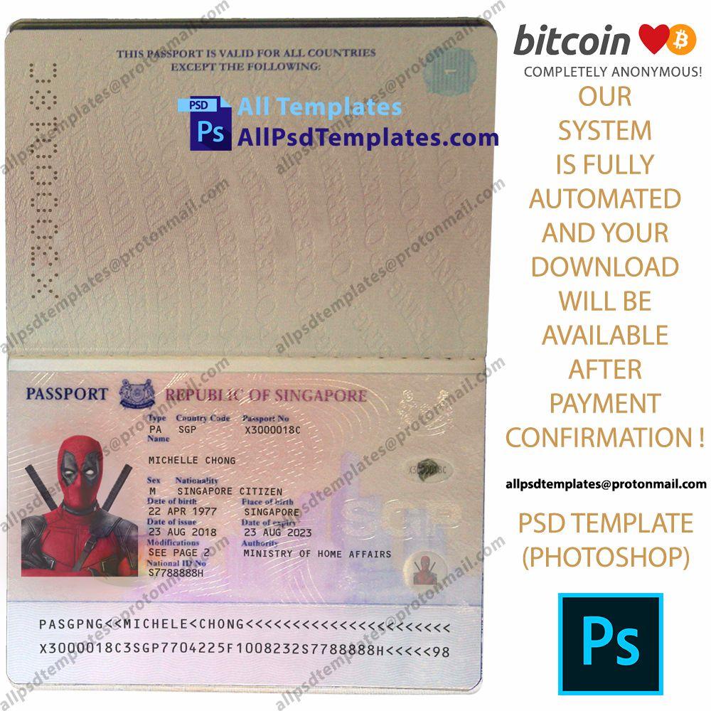 Singapore Passport Template In 2020 Passport Template Templates Psd Templates