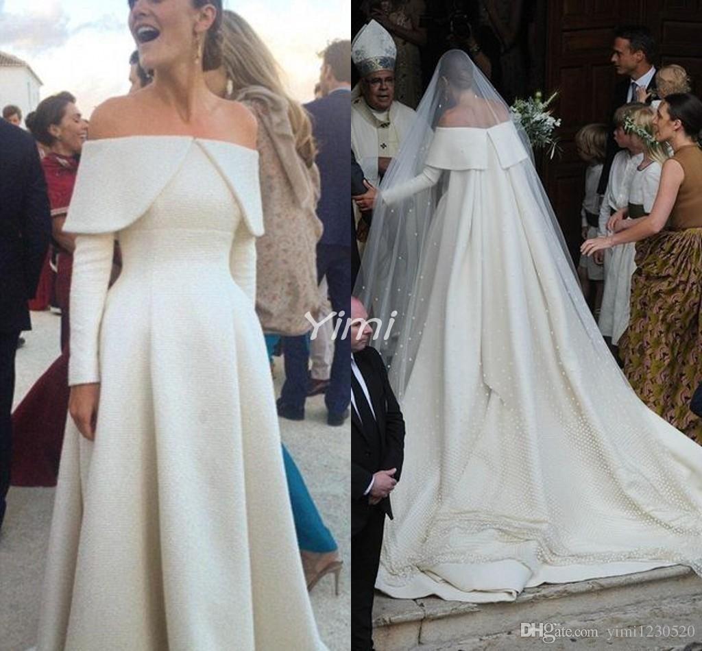 Trendy Long Sleeve Wedding Dresses 18 Off Shoulder Sailor Collar ...