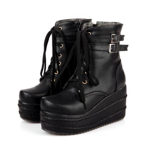1c3a84f8a85 Womens Platform Wedges Buckle Decor Lace Up Ankle Boots Punk Goth Creeper  Shoes