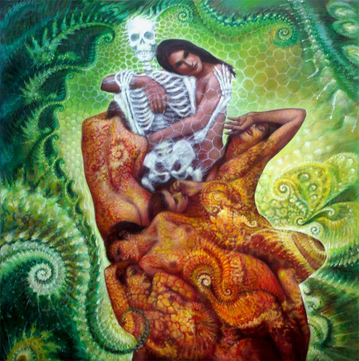 Embracing Death, oil on large canvas 2010-2015 © dennis potokar All rights reserved.