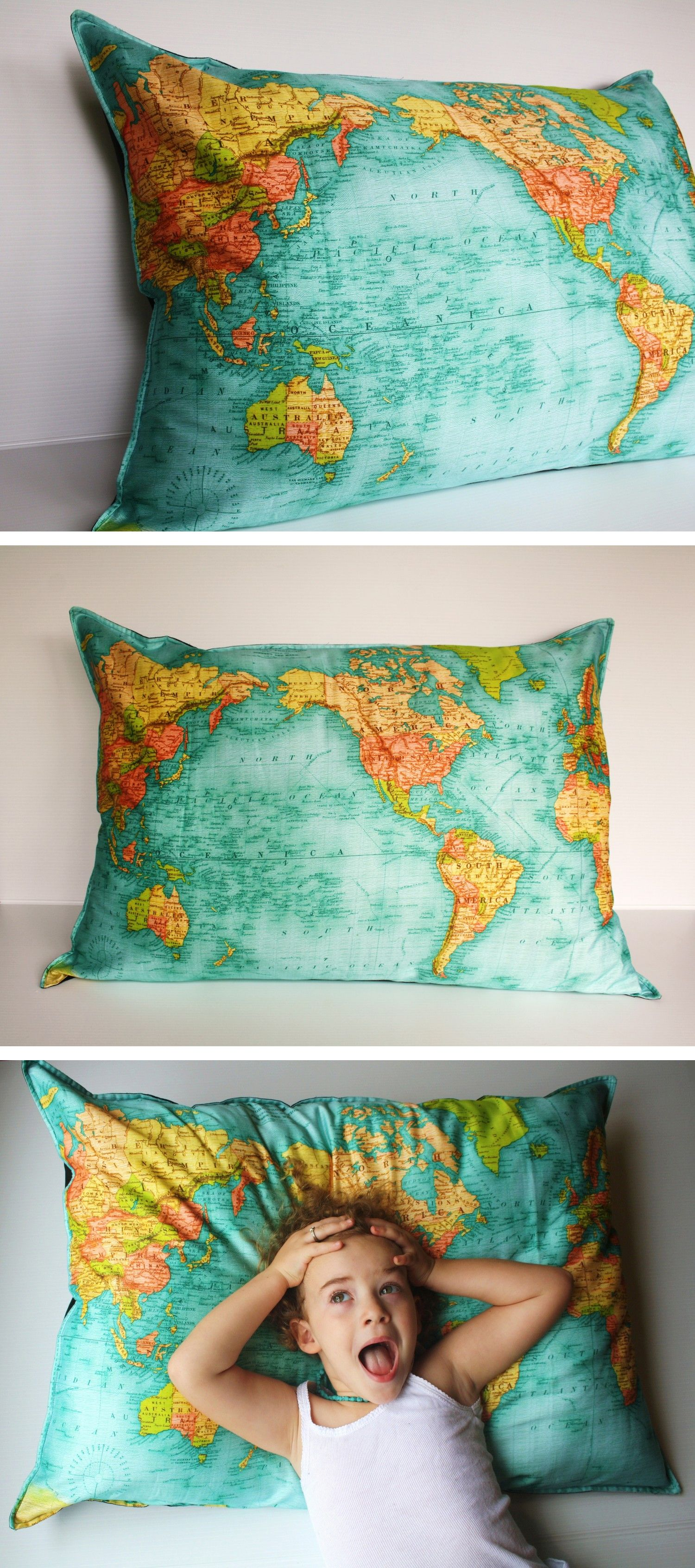 FLOOR CUSHION WORLD map cushion, giant organic cotton cushion cover, bean bag, world map cushion, pillow 86cm/34inches x 61cm/ 24 inches - made in Australia from a vintage map reproduction exclusive to My Bearded Pidgeon - this one is on my Etsy Christmas gift wishlist!