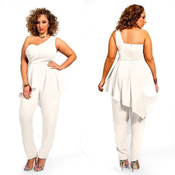 Sexy Plus Size White One Shoulder Ruffle Jumpsuit | Plus ...